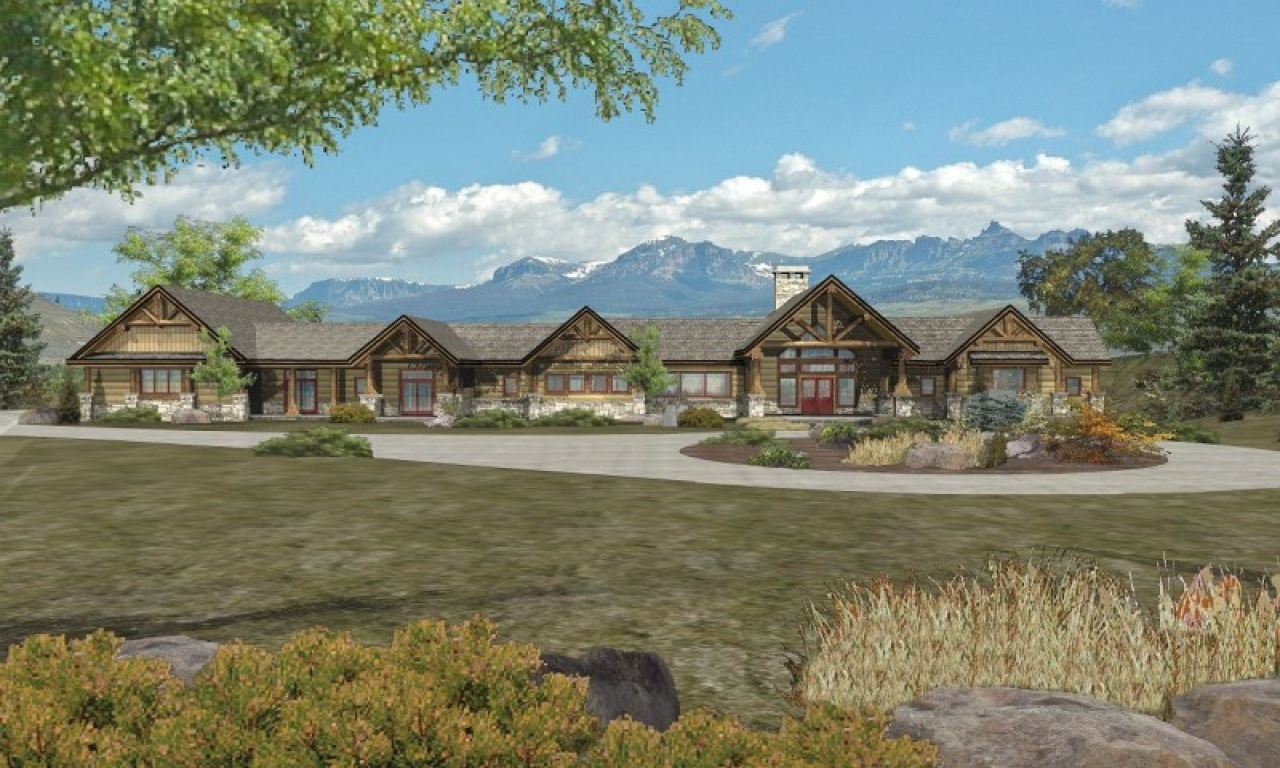 Rustic log cabin homes ranch log homes cabins and log for Ranch log home floor plans