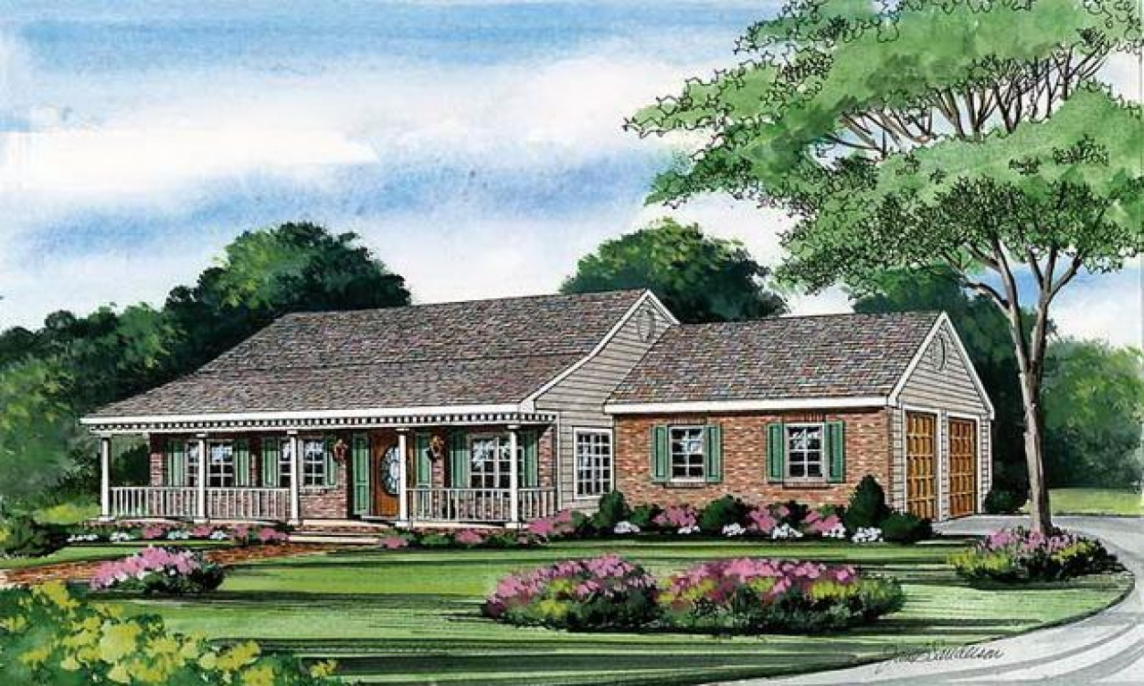 One story house plans with porch one story house plans for Home designs with wrap around porches