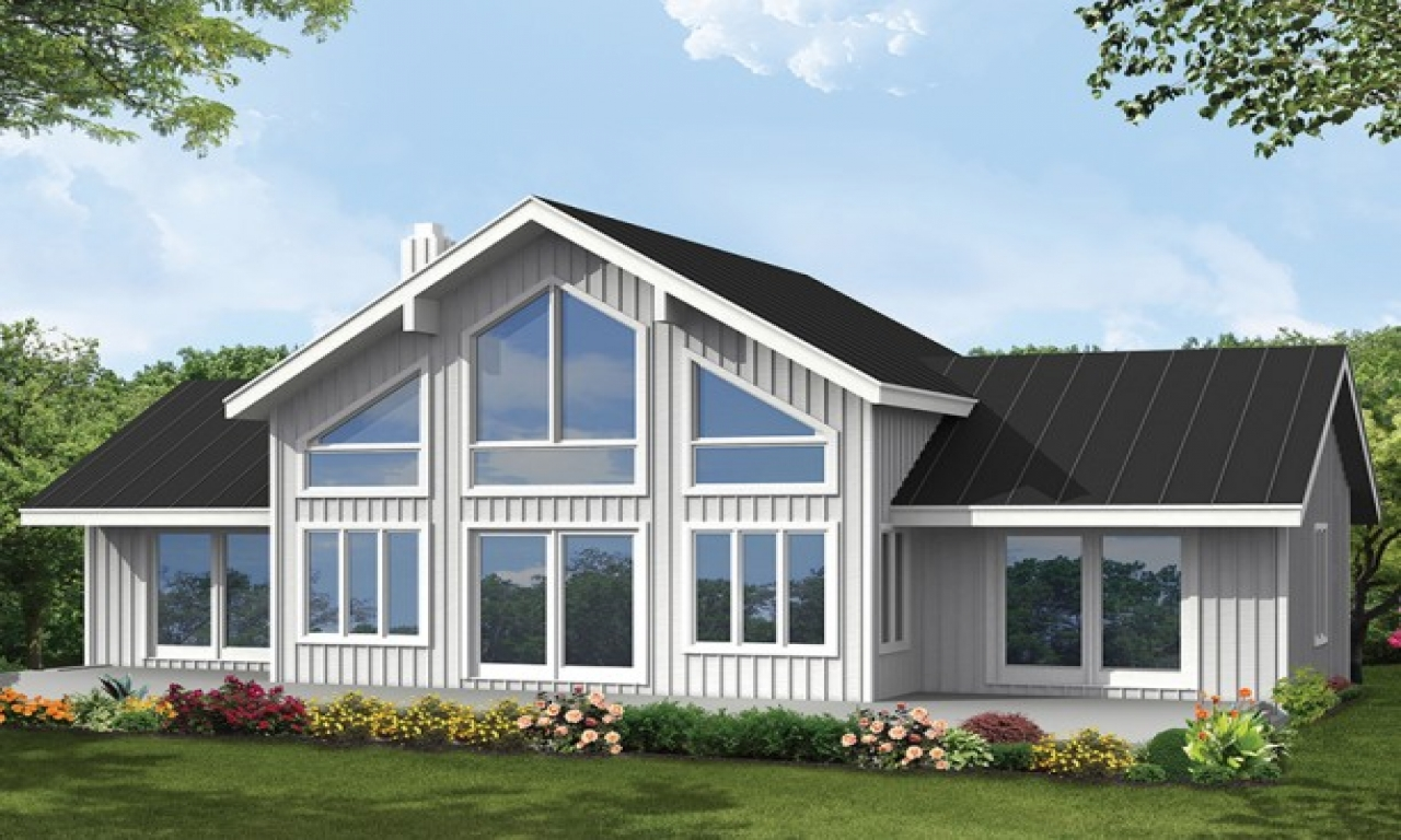 Big window house plans let natural light in 4 bedroom for Natural home plans