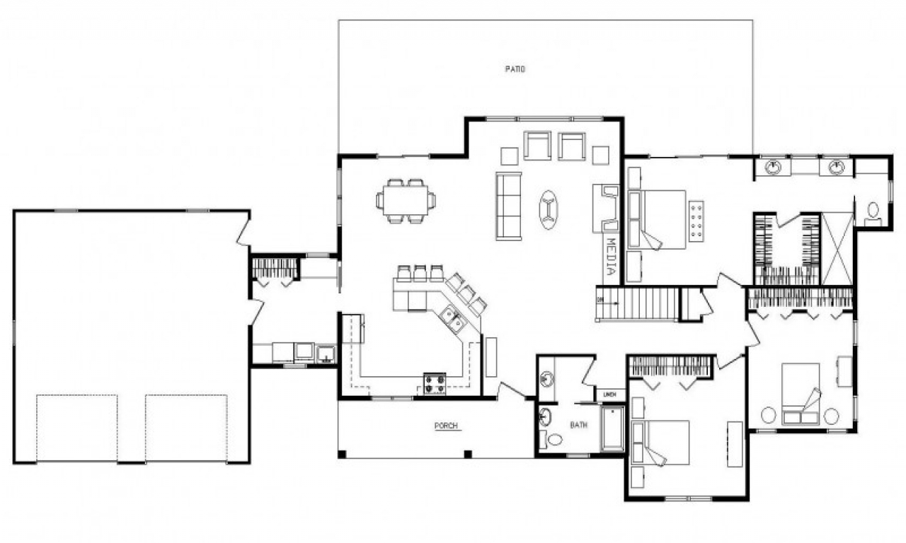 Modern ranch style homes open concept ranch floor plans Modern ranch house plans