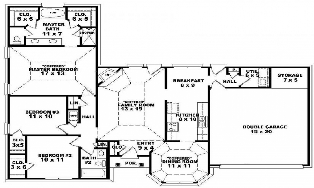 Double bedroom 3 bedroom single story house plan one for 3 story 5 bedroom house plans