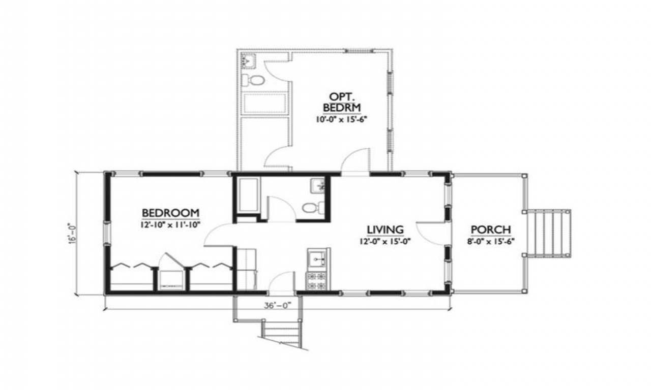 1 bedroom katrina cottage floor plans 1 bedroom studio for One bedroom efficiency apartment plans