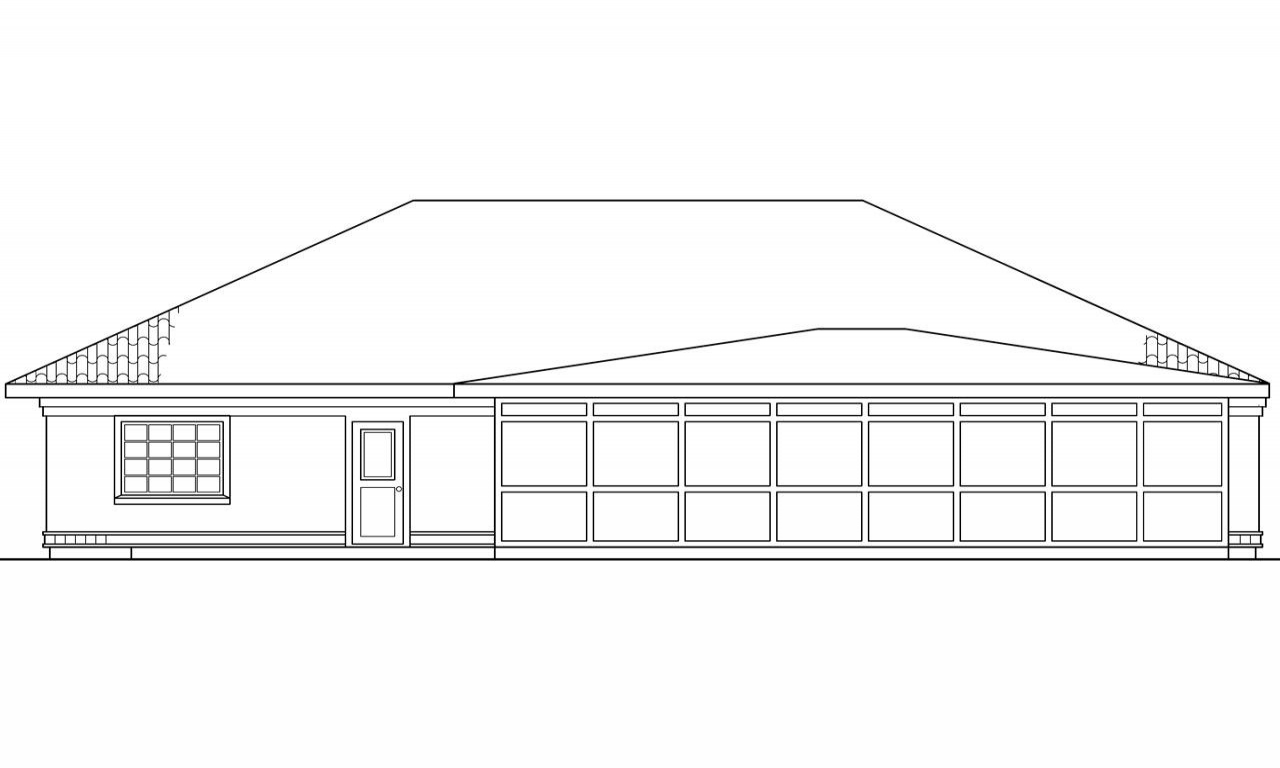Cypress cabin plans pool house plan cypress 11 001 rear for What is rear elevation