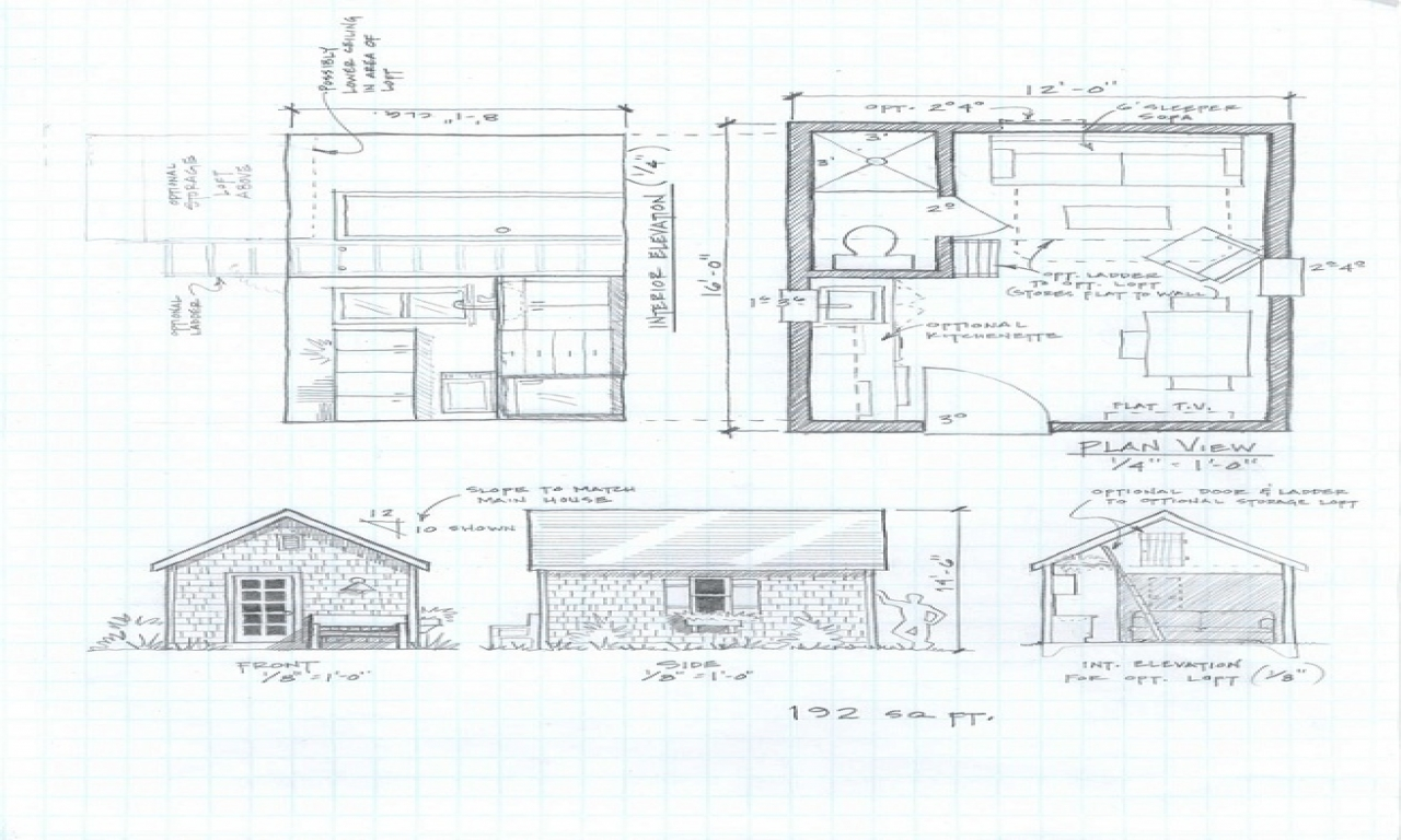 Small cabin plans under 1000 sq ft cabin floor plans with for Modern loft house plans