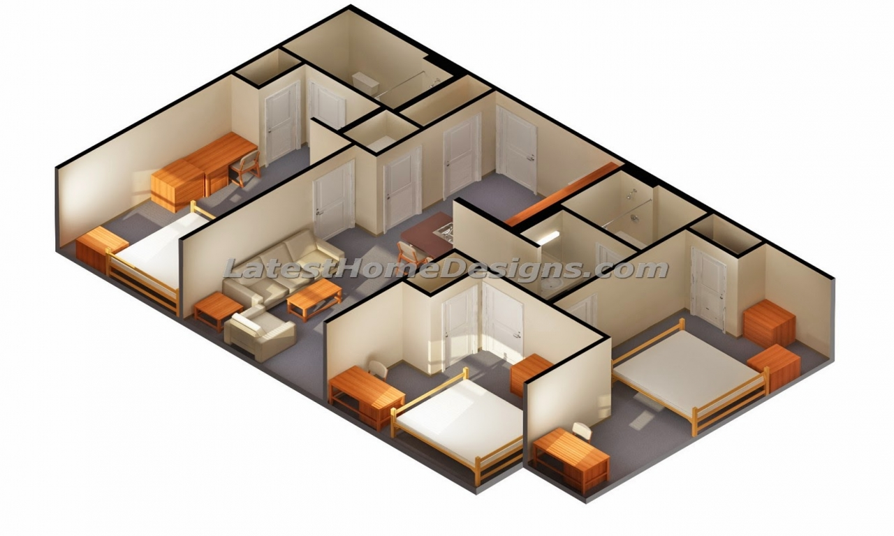 3d Designs Of 3 Bedroom 2 Bath House Plans 3d Numbers Clip