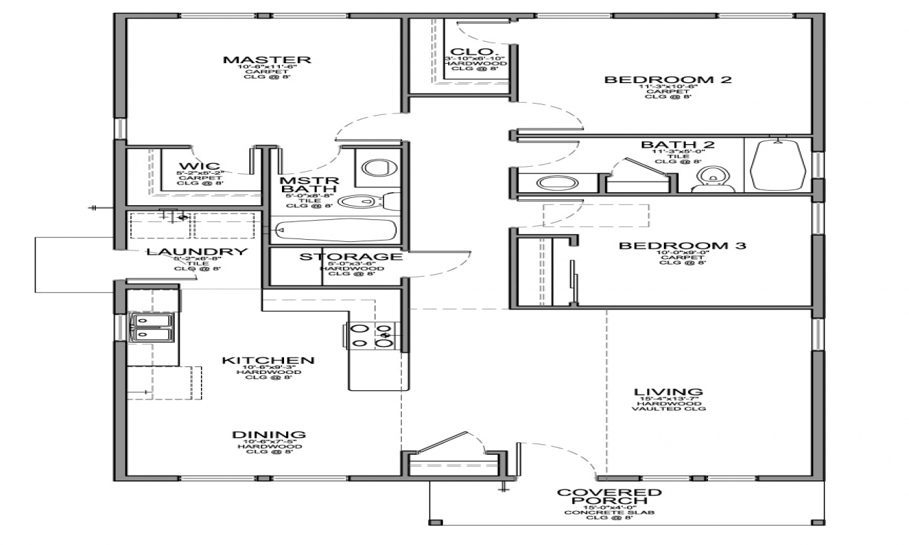 Small 3 Bedroom House Floor Plans 3D Small House Plans small cabin pics Treesranch com