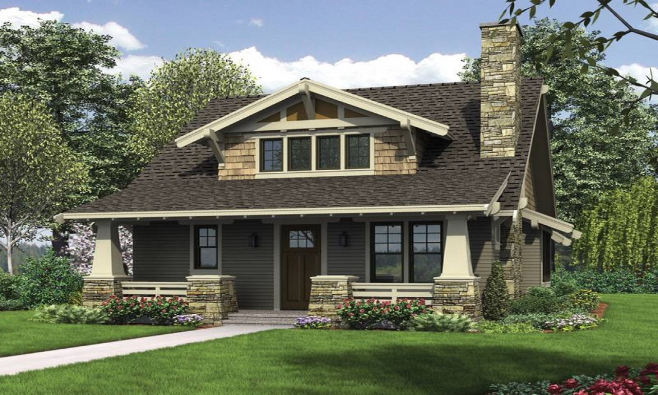 Craftsman style columns craftsman style bungalow house for House plans with columns