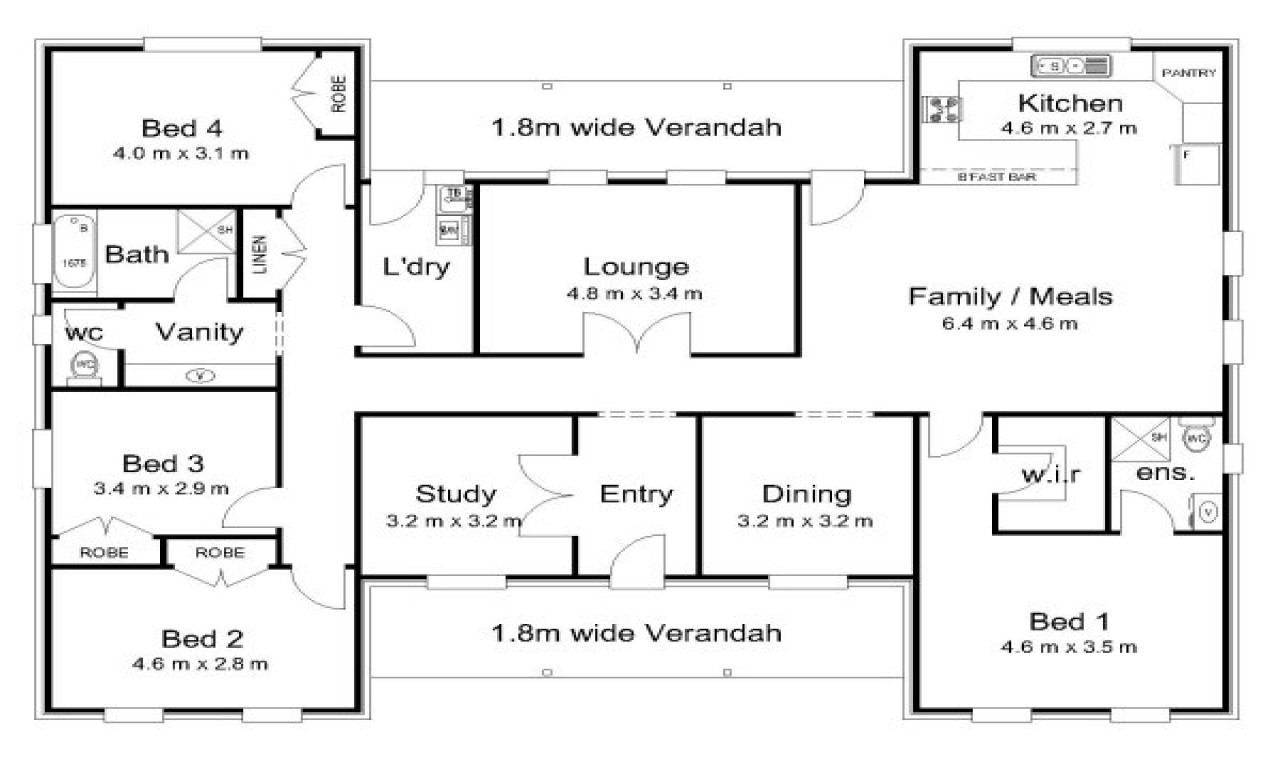 4 bedroom house floor plans 5 bedroom house with pool for Five bedroom house floor plans