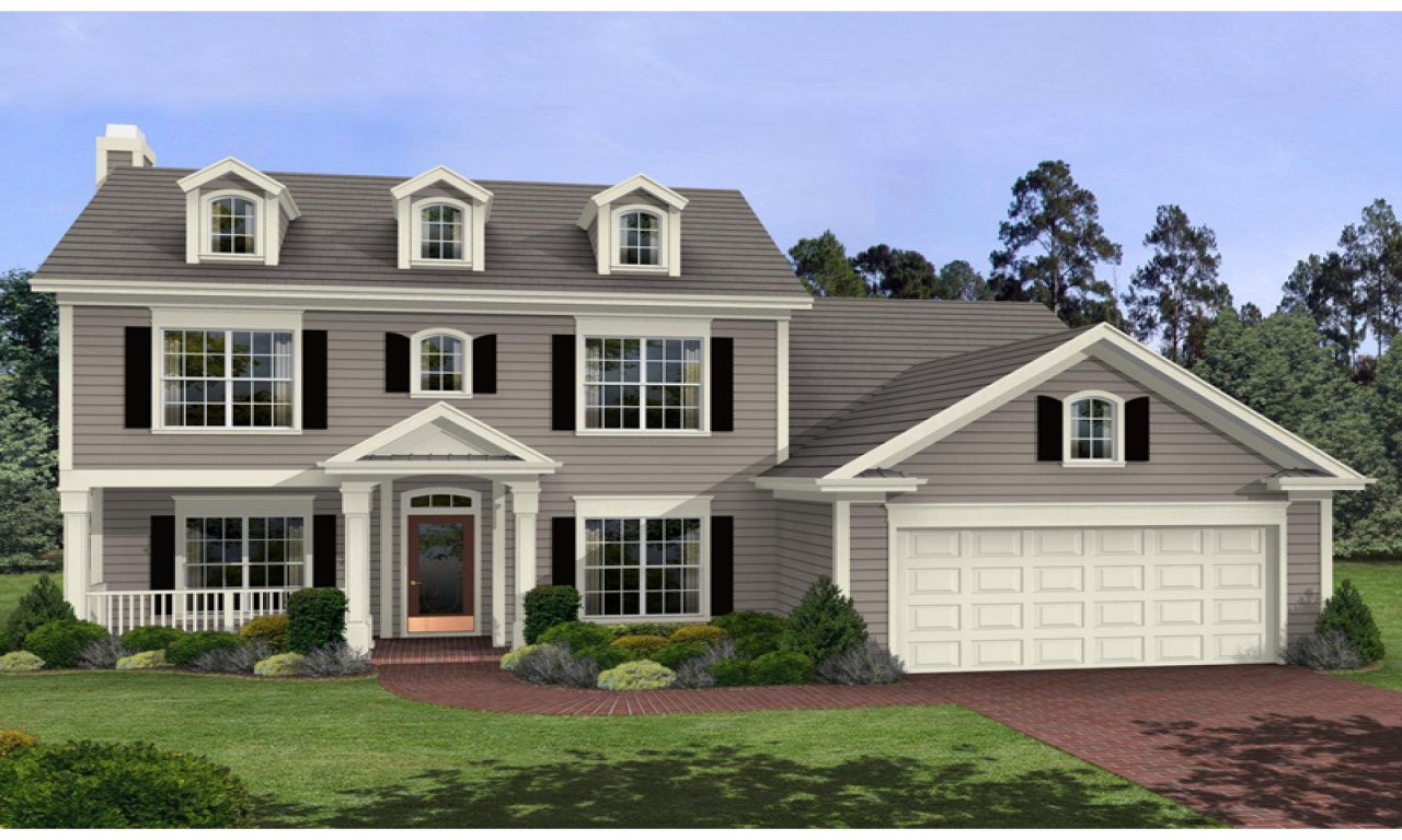 One Story Colonial Homes 2 Story Colonial House Plans