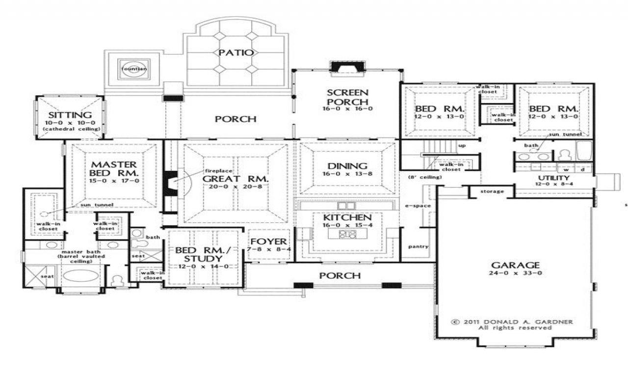 Open house plans with large kitchens open house plans with for Big kitchen floor plans