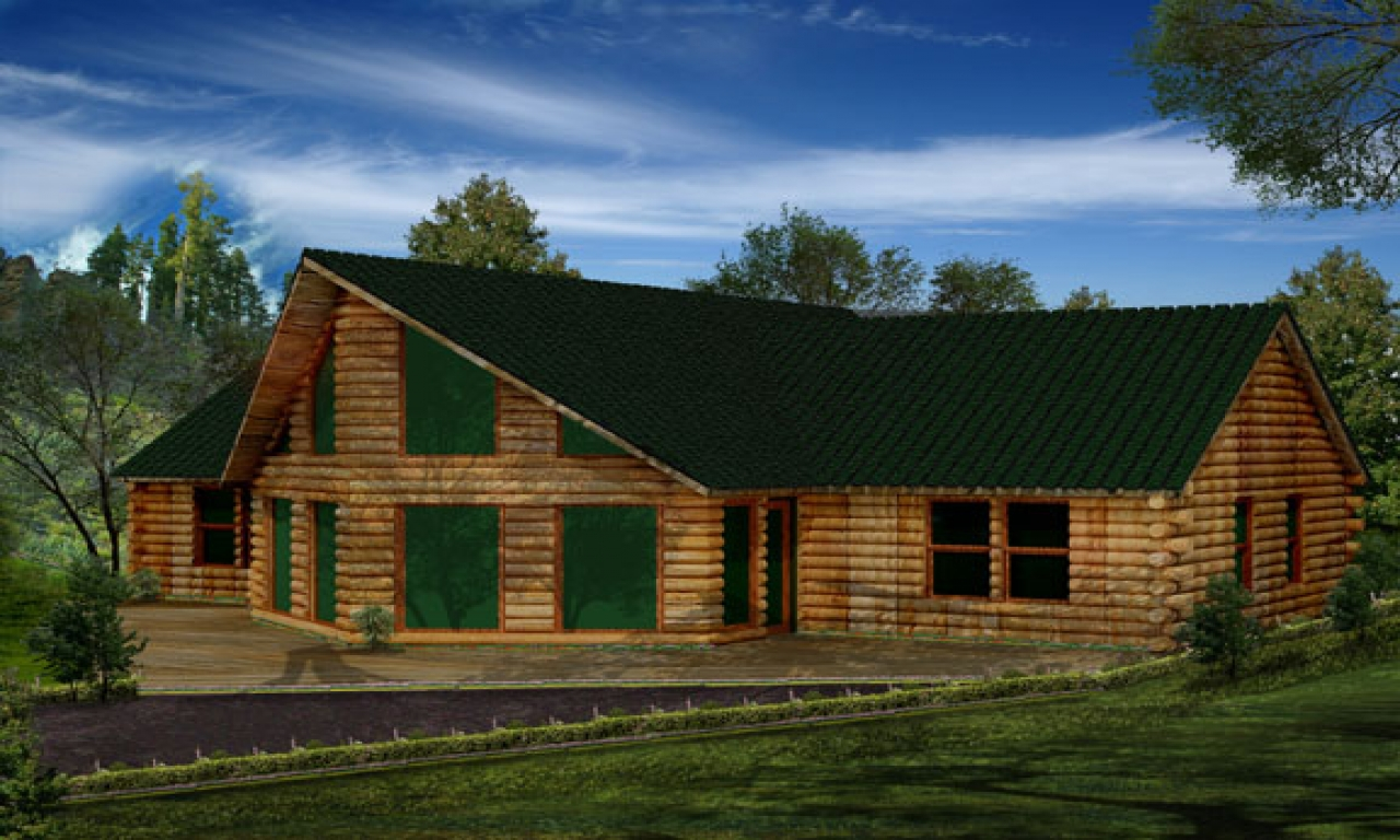 Single story log cabin homes single story log cabin plans for One story log house plans