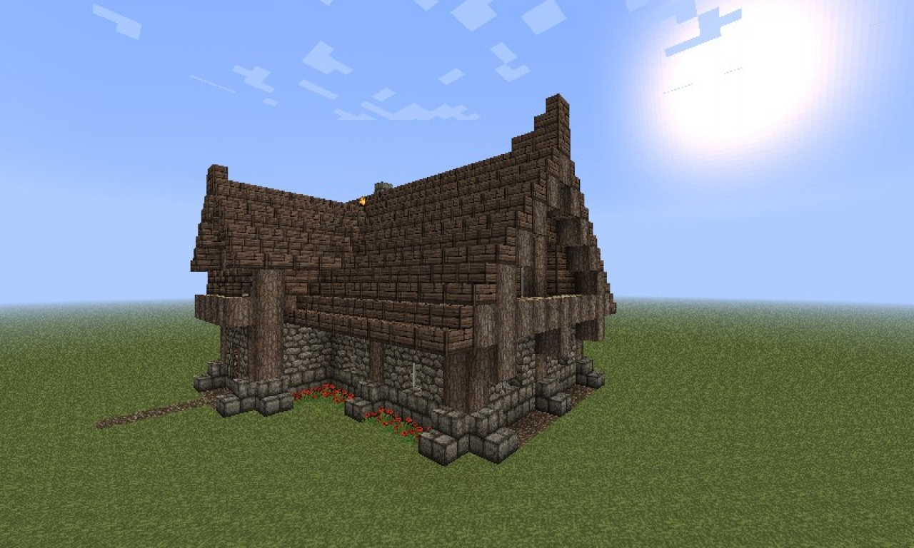 Minecraft Small House Small Log Cabin Minecraft  Log Cabins Blueprints