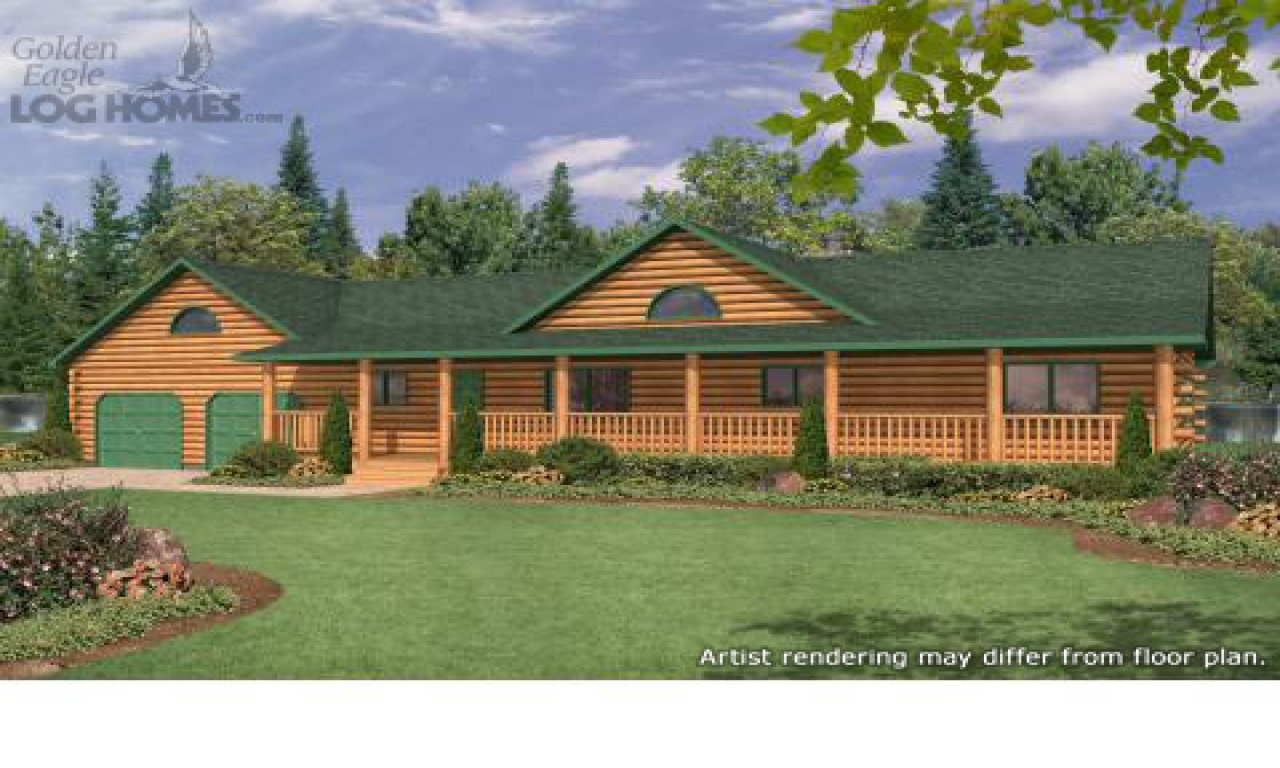 Ranch style log home plans ranch style log homes with wrap for Ranch house plans with wrap around porch