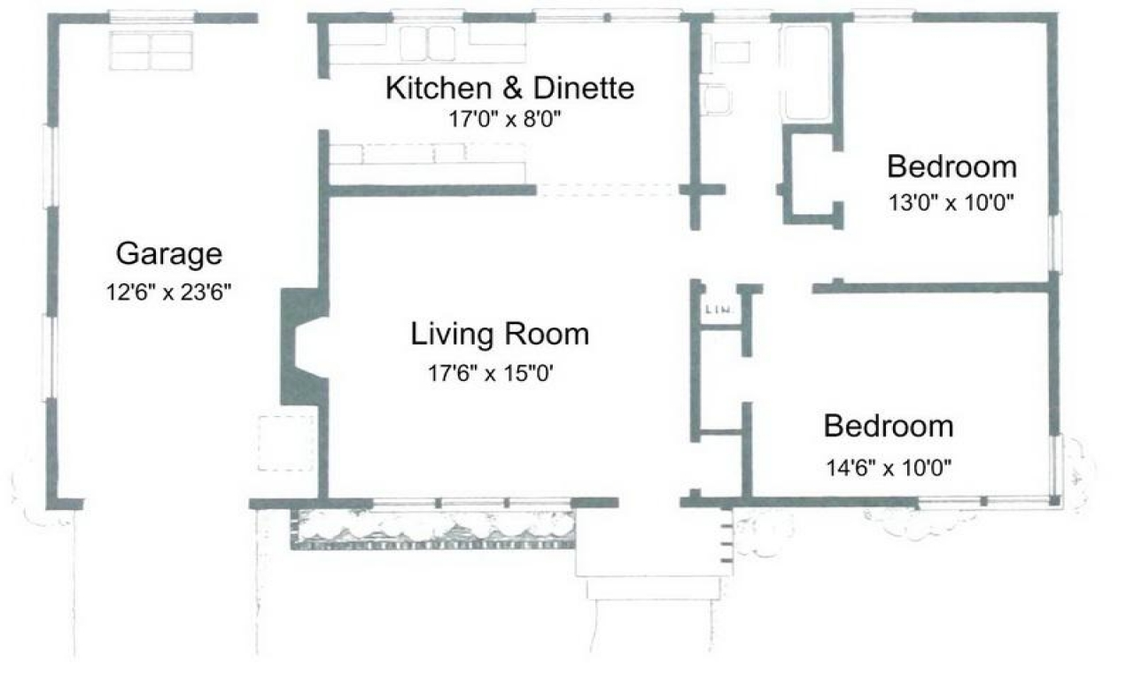 Two bedroom condo small two bedroom house plans tiny for Two bedroom house floor plans