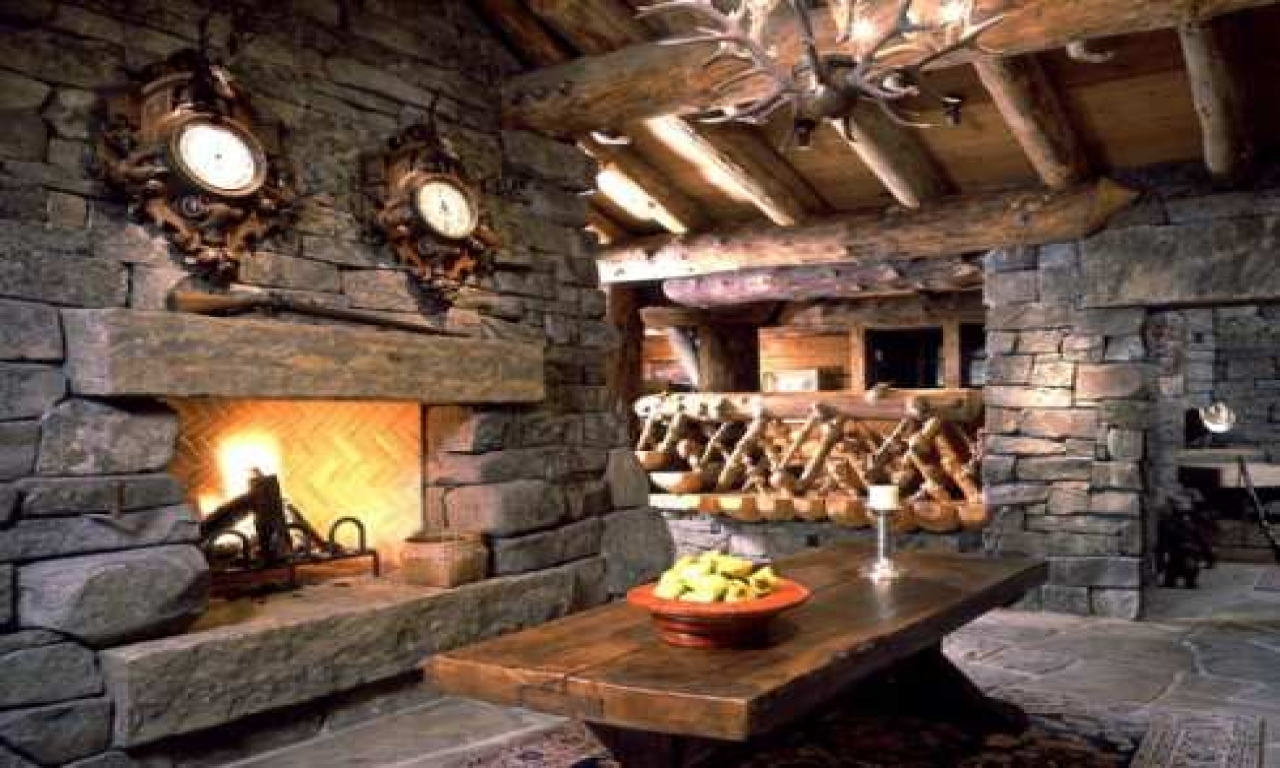 Rustic Log Cabin Fireplaces Stone Fireplace