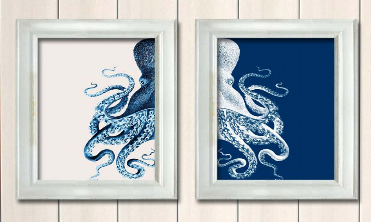 Black octopus blue and white octopus prints beach house for Beach house prints