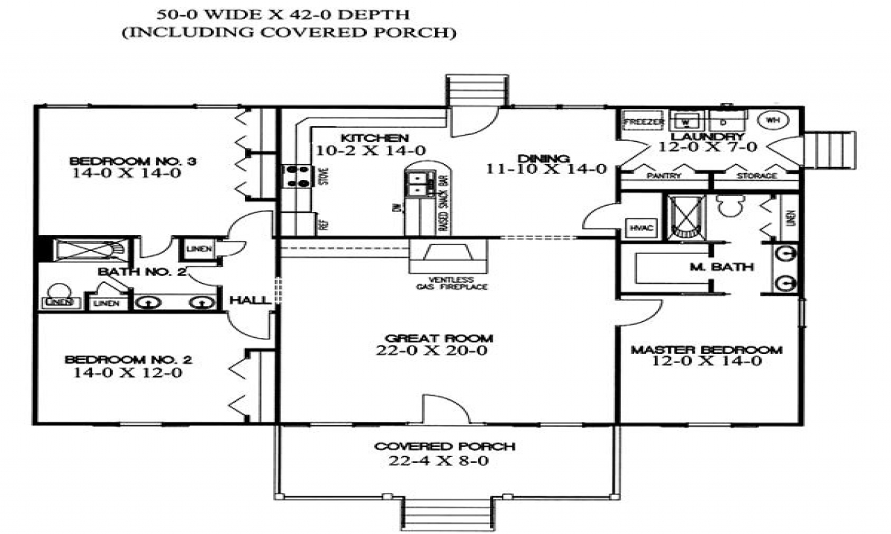 Split level home floor plans house plans with split for Ranch home floor plans split bedrooms