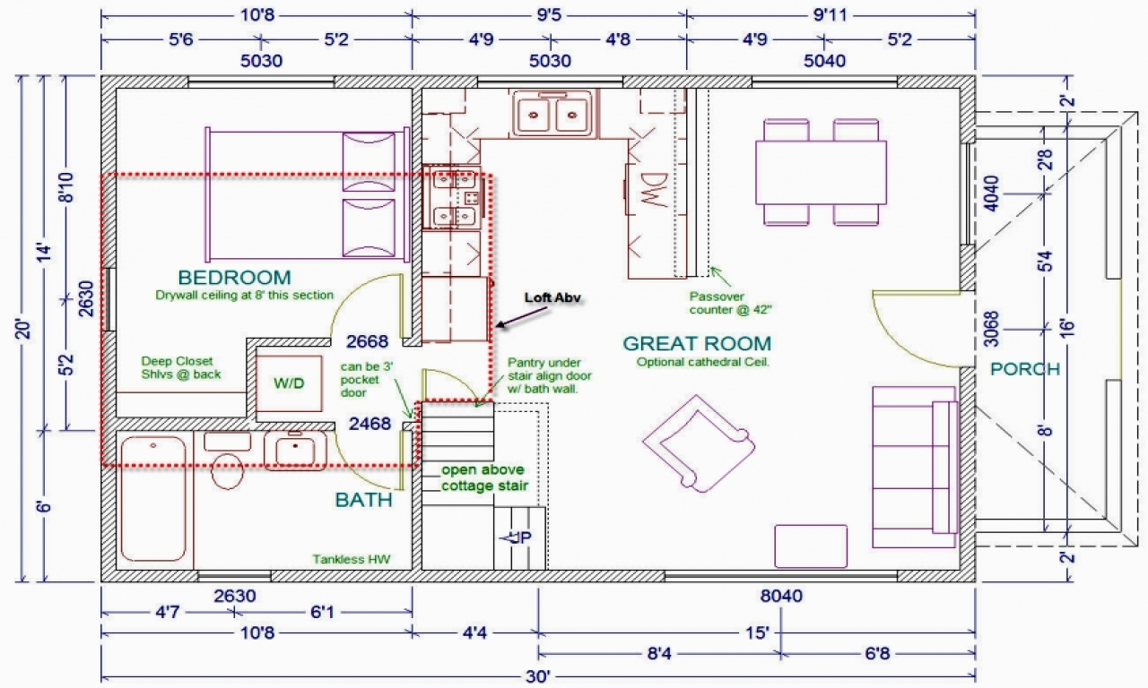 30 x 30 cabin plans 20 x 30 cabin floor plans with loft for Loft floor plans with dimensions
