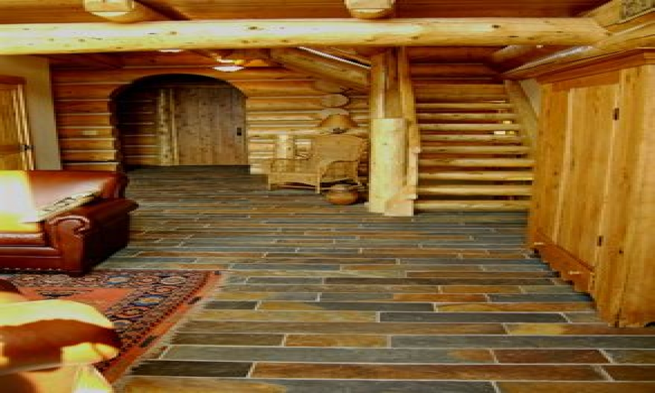Log Cabin Slate Floor Log Cabin Interiors Log Cabin