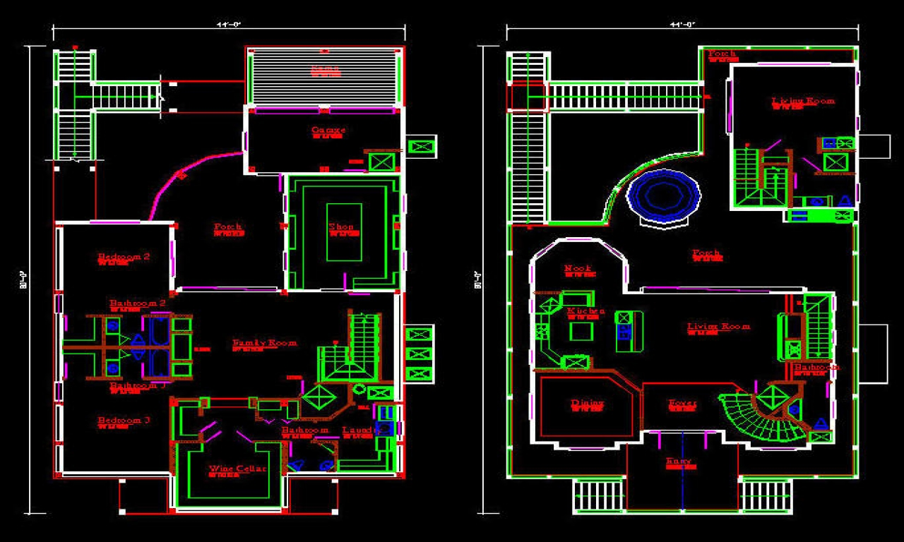 One Story House Floor Plans CAD House Plans Free Download