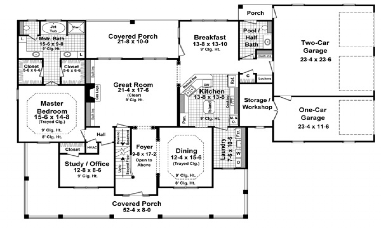 How Big Is 3000 Sq Ft 3000 Sq Ft One Floor House Plans Best One Level House Plans Treesranch Com