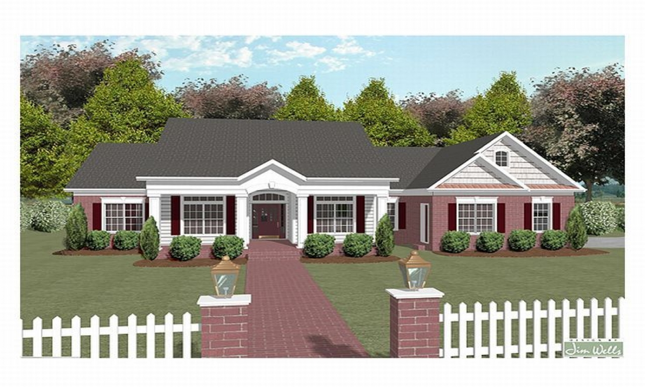 One story house plans over two story house plans one for One story country house plans with porches