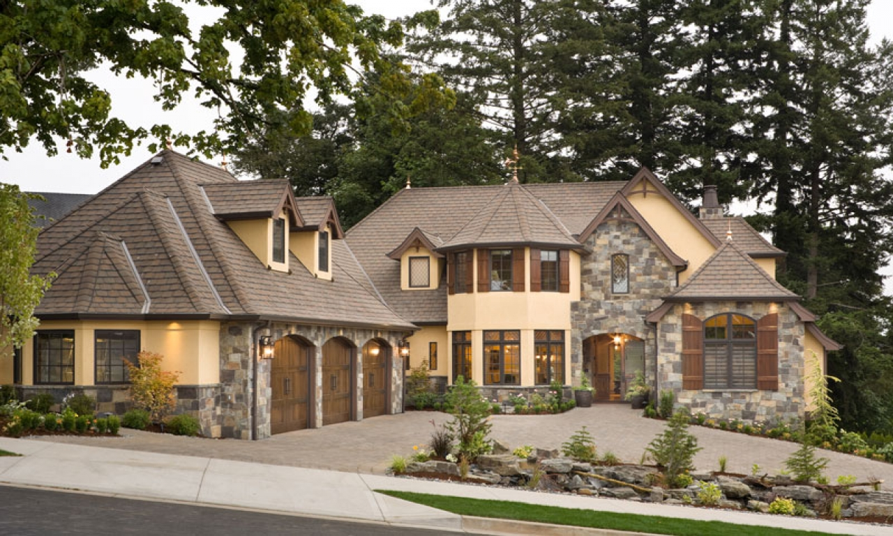 Stone cottage in the woods european stone cottage house for Luxury stone home designs