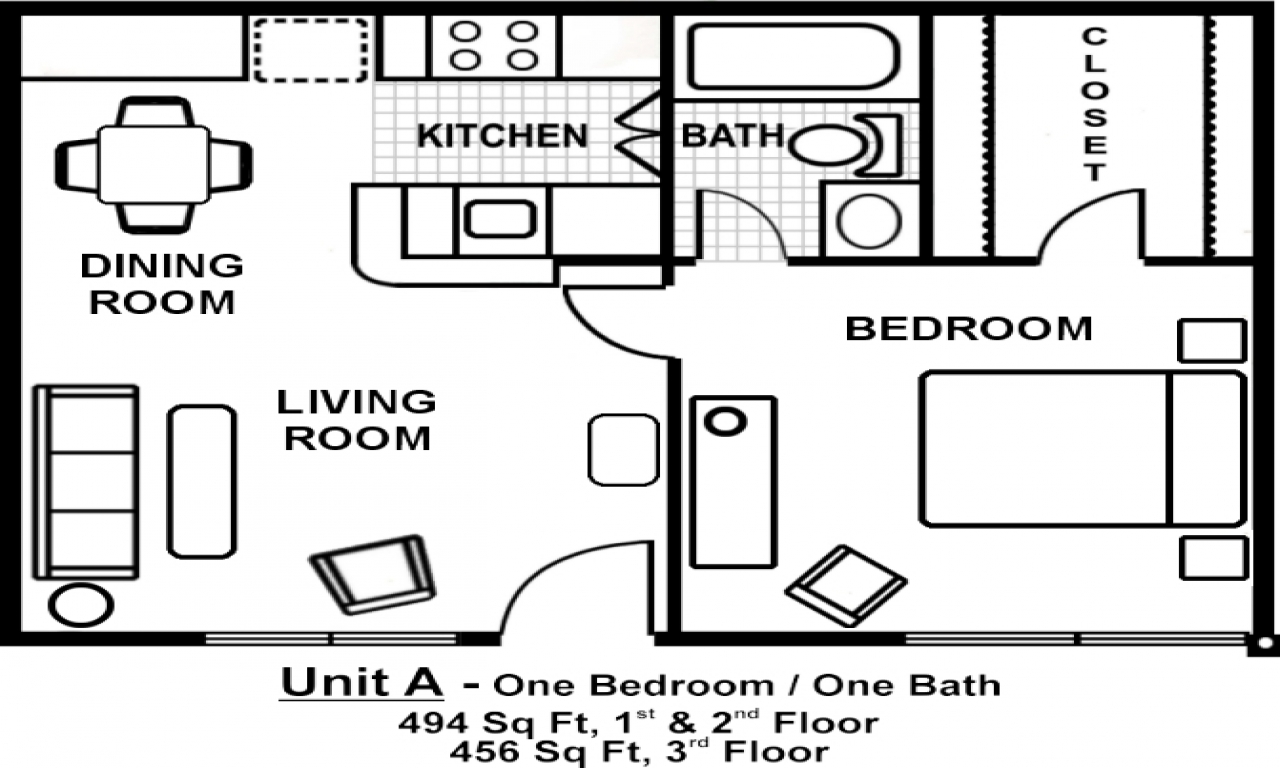 1 Bedroom Apartment Layout Small One Bedroom Apartment ...