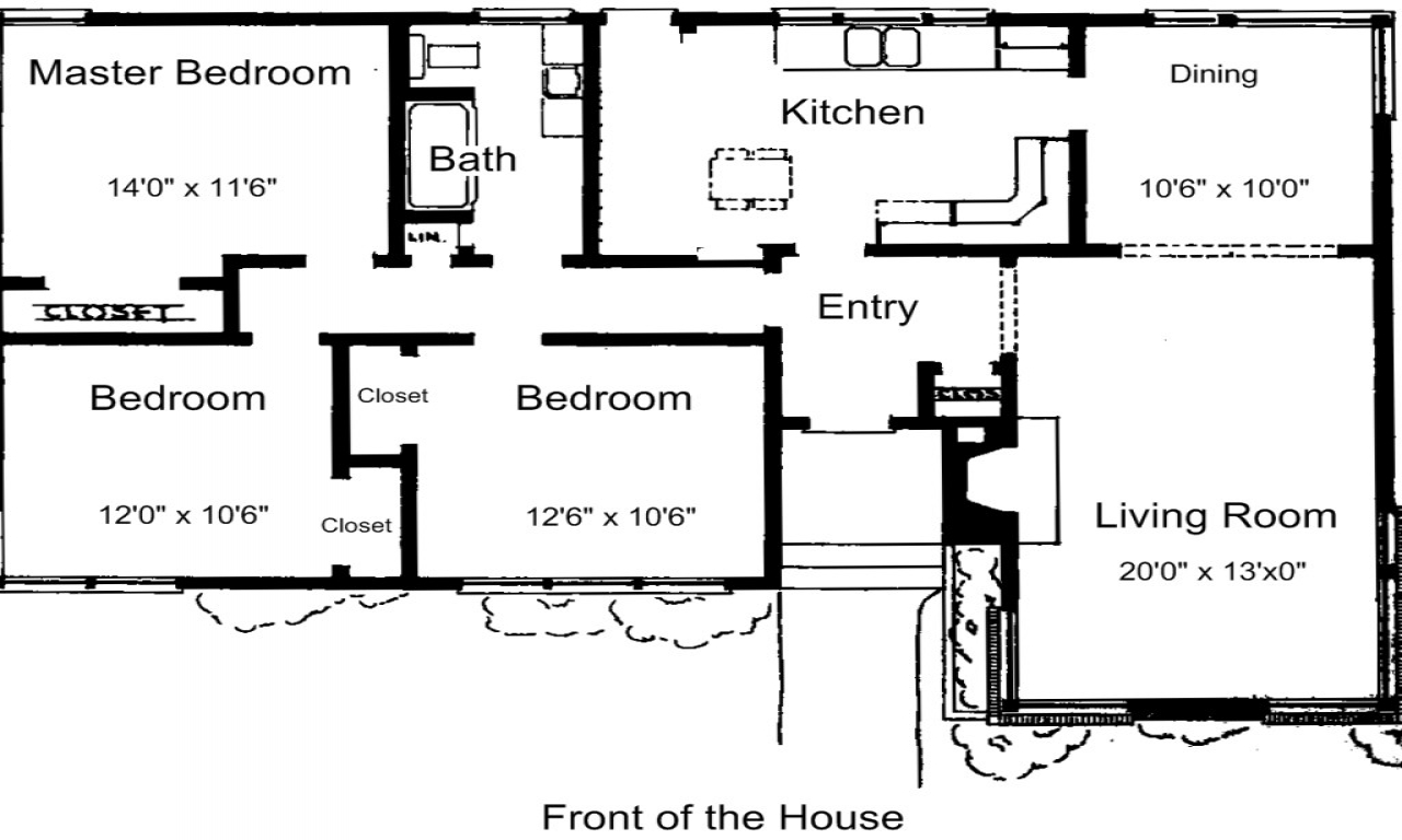 3 bedroom house plans free simple 3 bedroom house plans for Simple 3 bedroom house floor plans