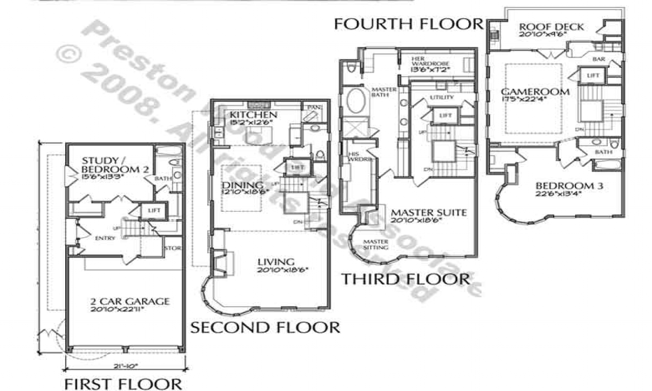 4story townhouse plans 4story transparent background for Townhouse plans