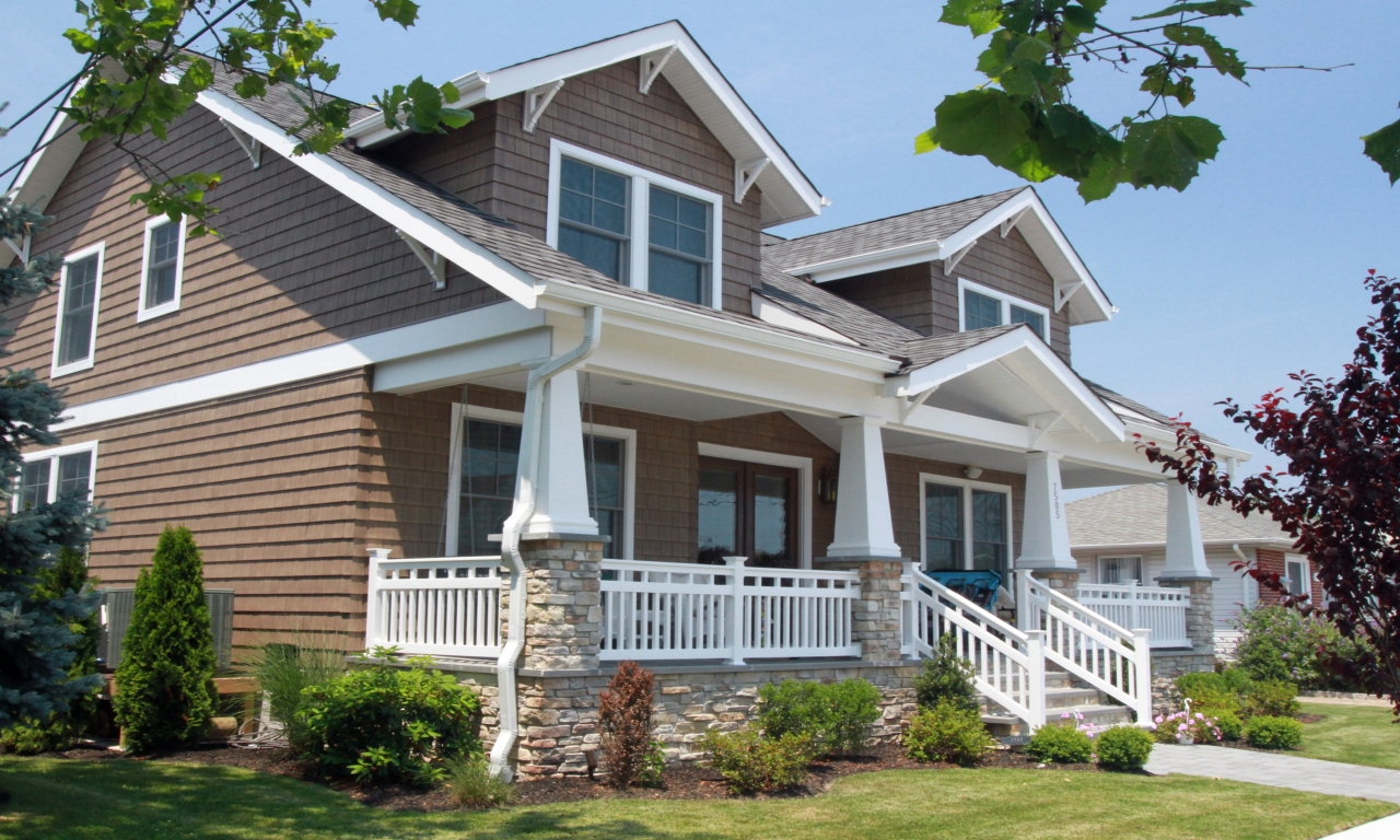 Craftsman style homes with front porches pictures single for Single story craftsman homes