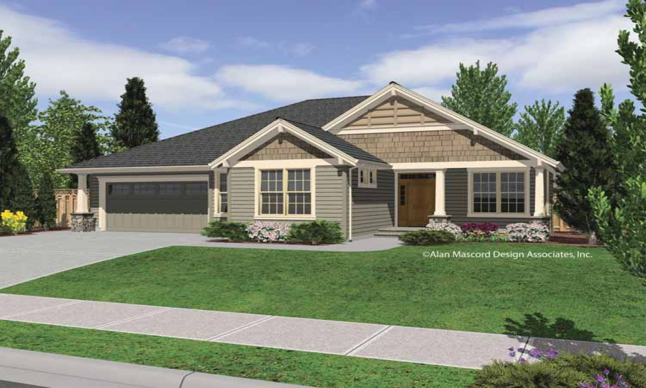 Single story craftsman home plans craftsman house plans for Single story ranch homes