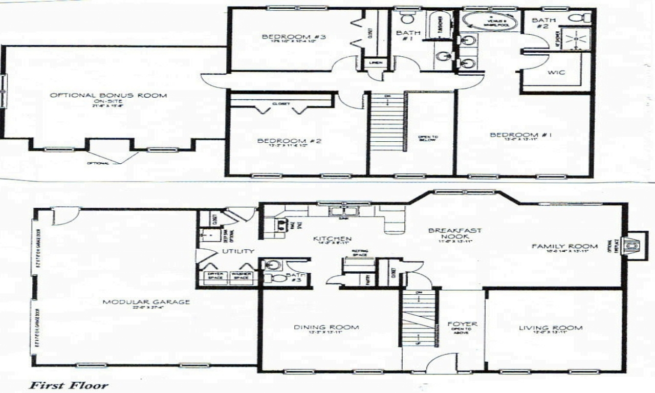 Long lots blueprints 3 bedroom 1 story 2 story 3 bedroom for Two story house blueprints