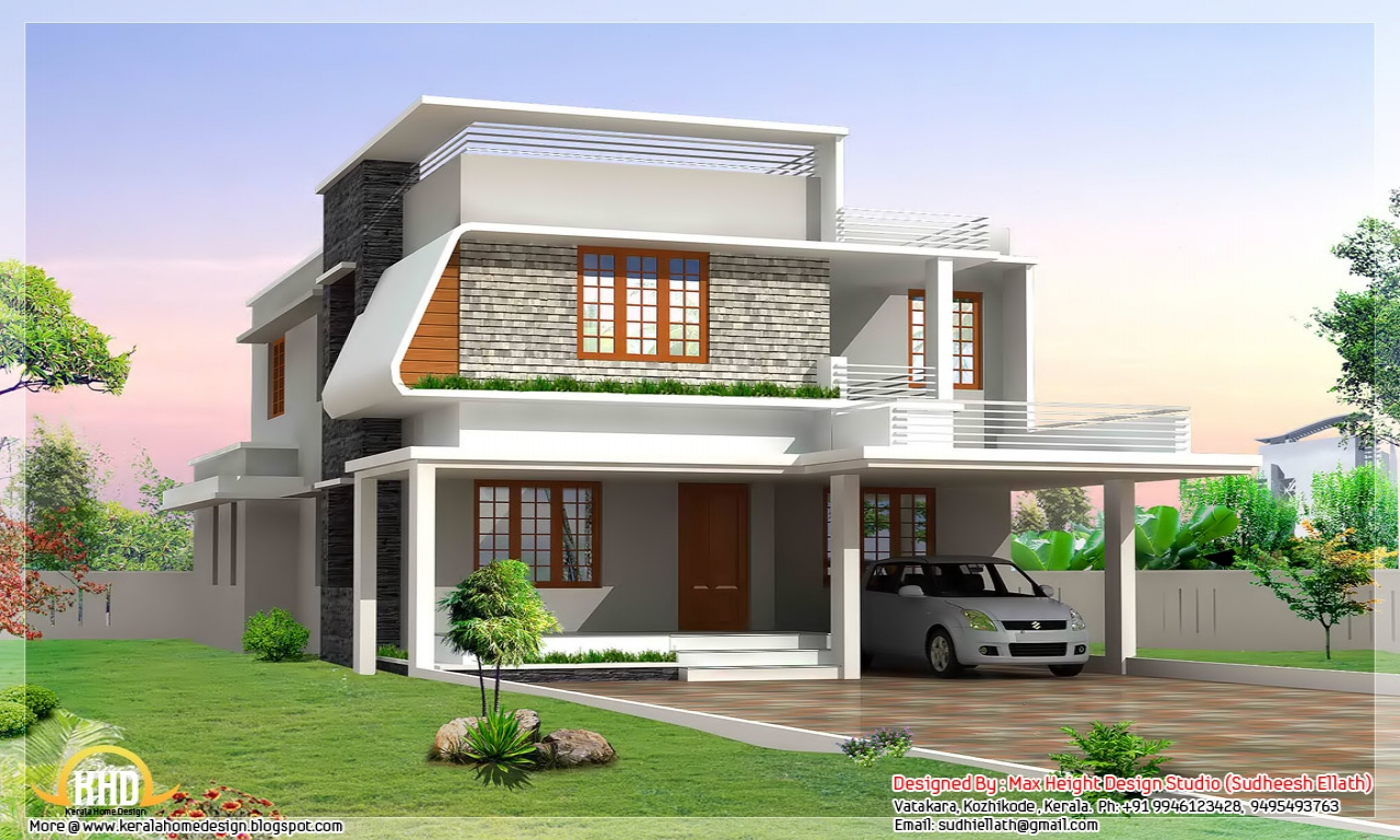 Modern front house elevation designs modern house for Good home designs india