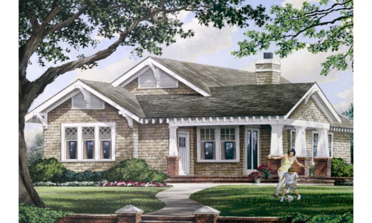 One story house plans with wrap around porch one story for Craftsman wrap around porch