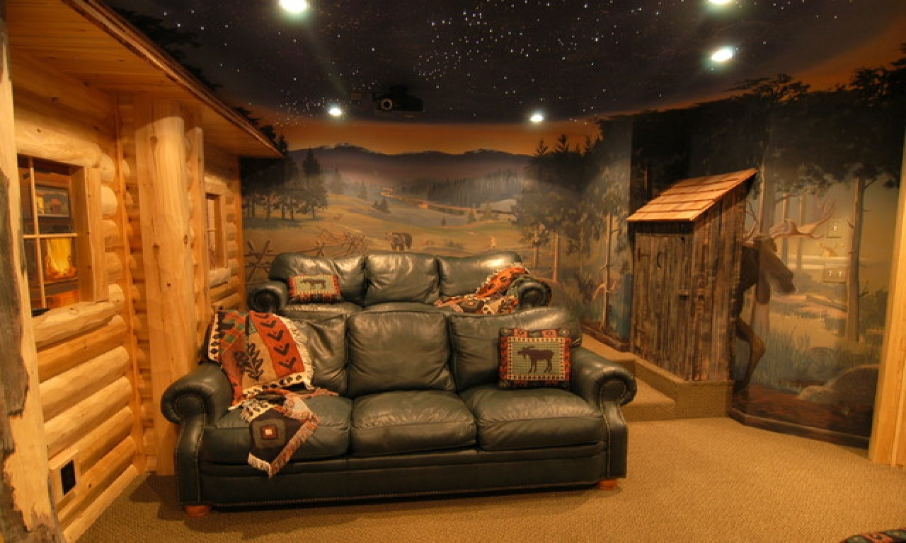Small log homes inside basement log home interior log for Log cabin basement ideas
