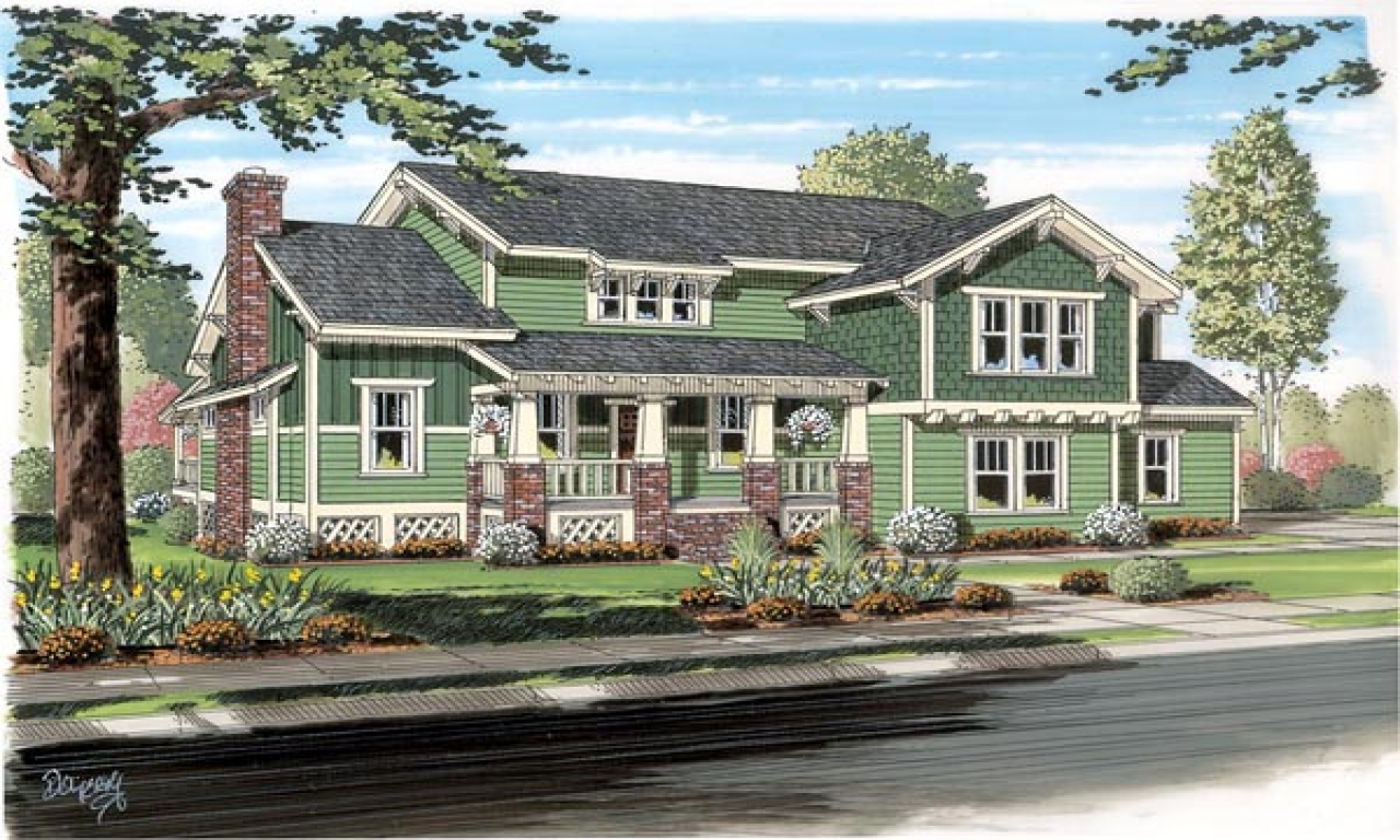 Traditional craftsman bungalow cottage house plan for Craftsman cottage home plans
