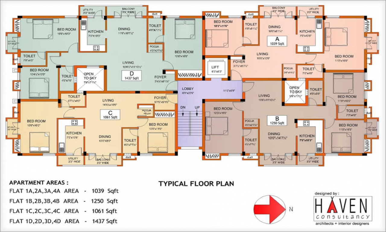 2 Bedroom Apartment Floor Plan Apartment Building Floor