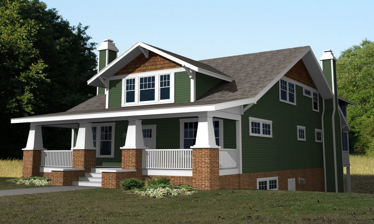 2 story craftsman bungalow house plans 2 story craftsman for One and a half story homes