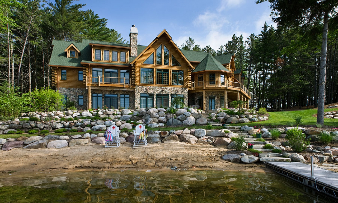 Biggest luxury log home log cabin homes michigan dream for Cottage builders in michigan