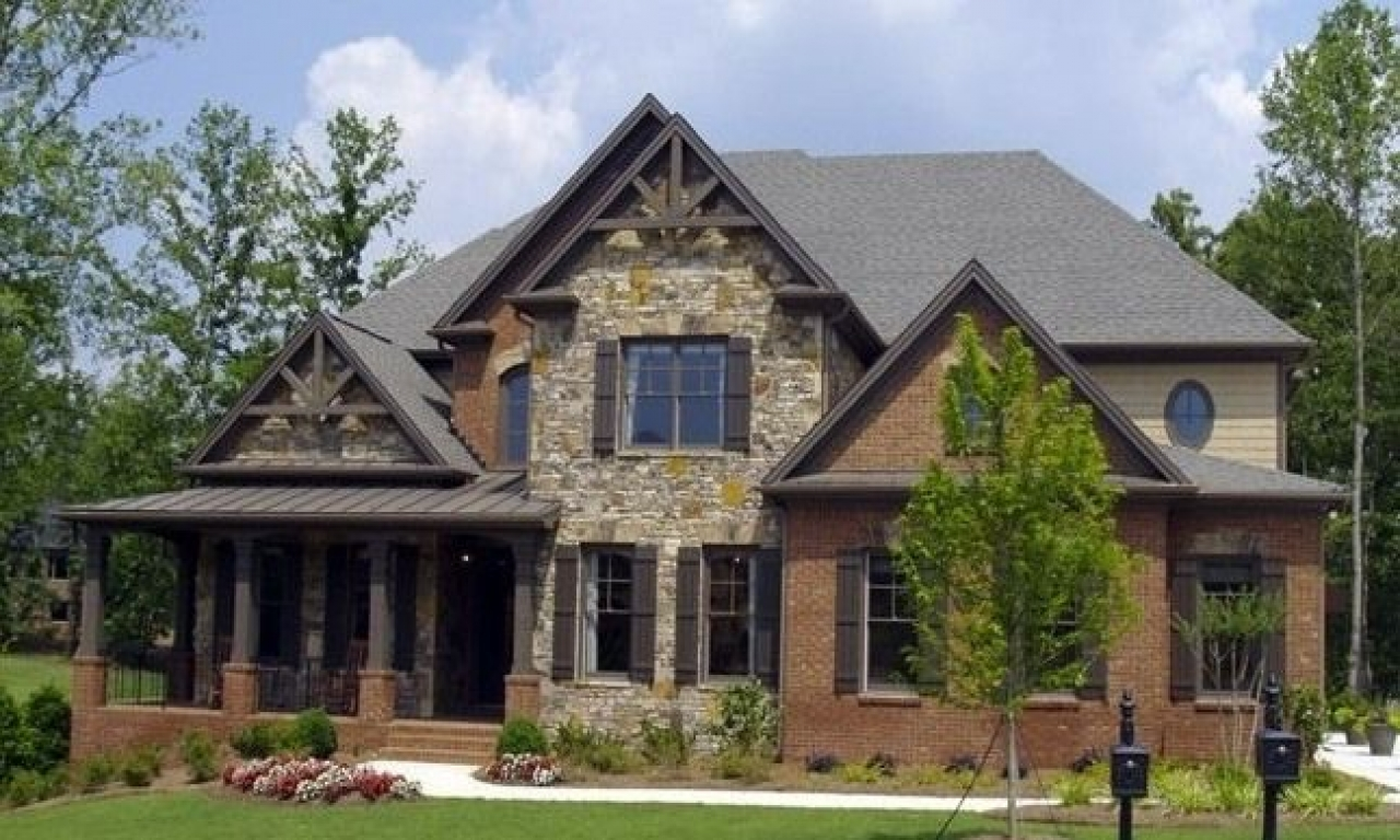 Brick homes with porches homes with brick and stone for Atlanta craftsman homes