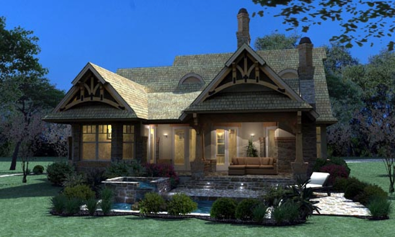 Craftsman bungalow cottage house plan tuscan craftsman for Rancher house plans canada