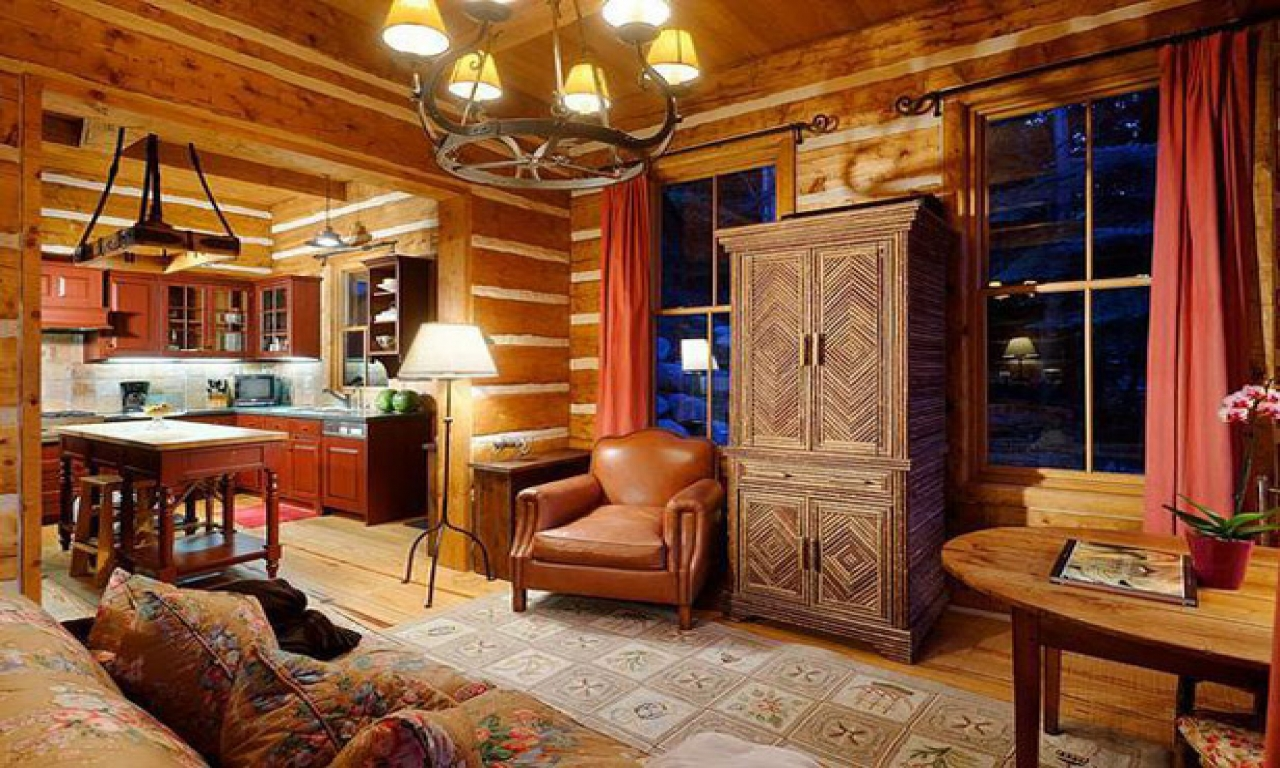 Build This Cozy Cabin Cozy Cabin Magazine Do It Yourself: Small Log Cabin Kits Small Log Cabin Living Room, Cozy Log