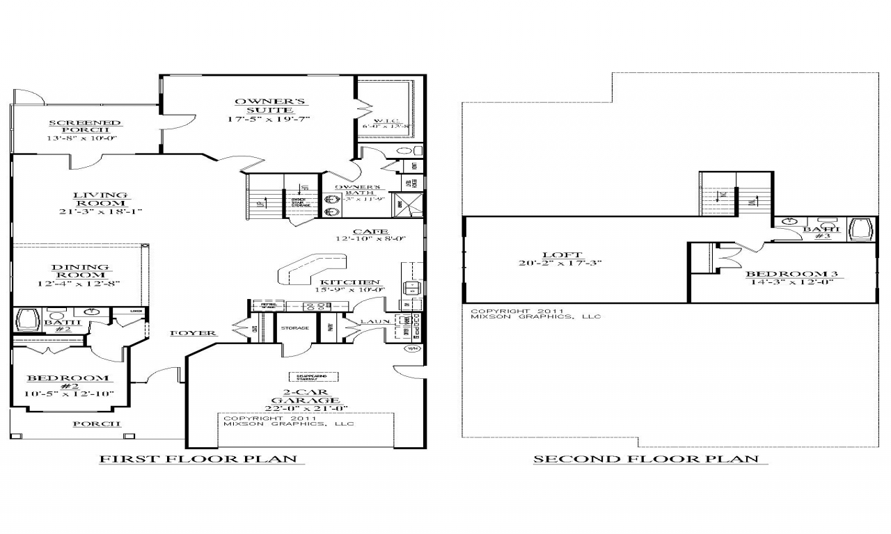 2 story house plans with bedrooms upstairs modern 2 story for Two bedroom house plans with loft