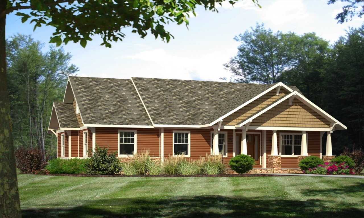 Craftsman ranch style modular homes craftsman house plans for Ranch lake house plans
