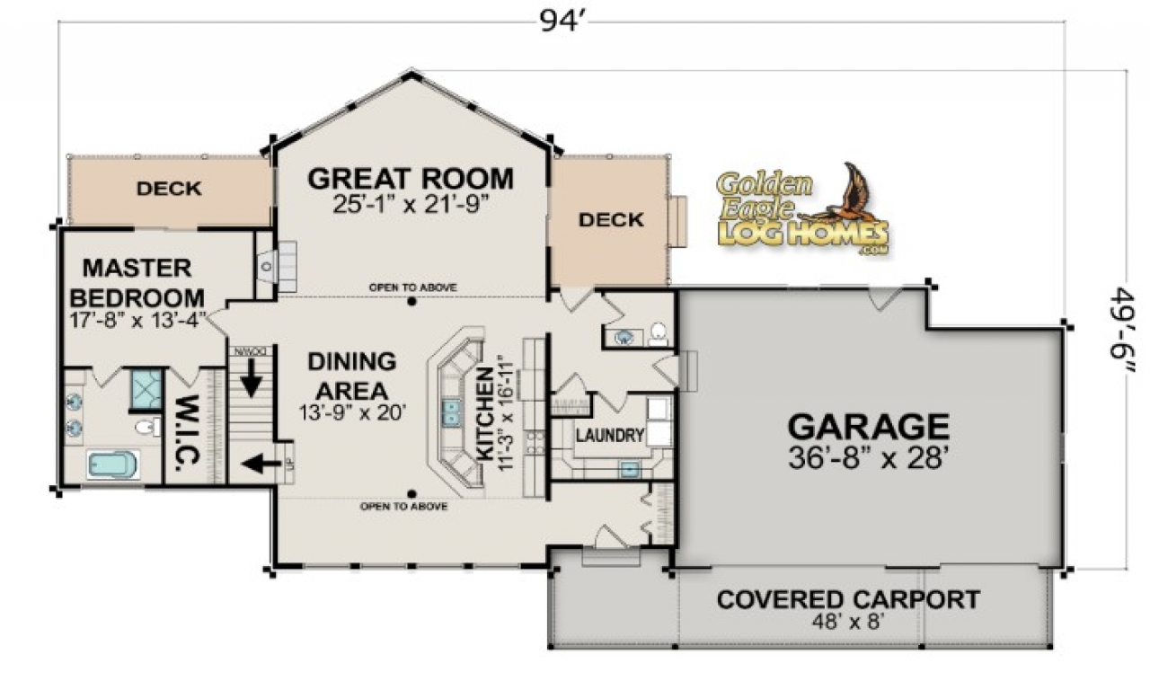 Lake house open floor plans lake house floor plan lake for Open floor plans with a view