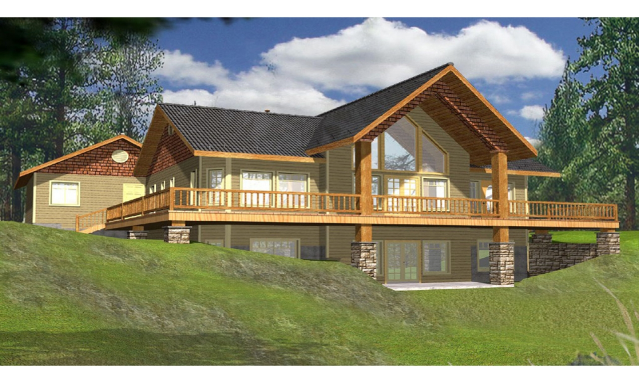 Lake house plans with rear view lake house plans with wrap for View house plans online