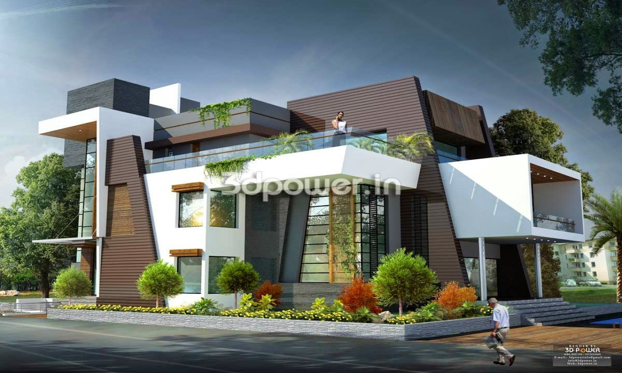 Modern bungalow house design india small lot modern house for Plan of bungalow in india