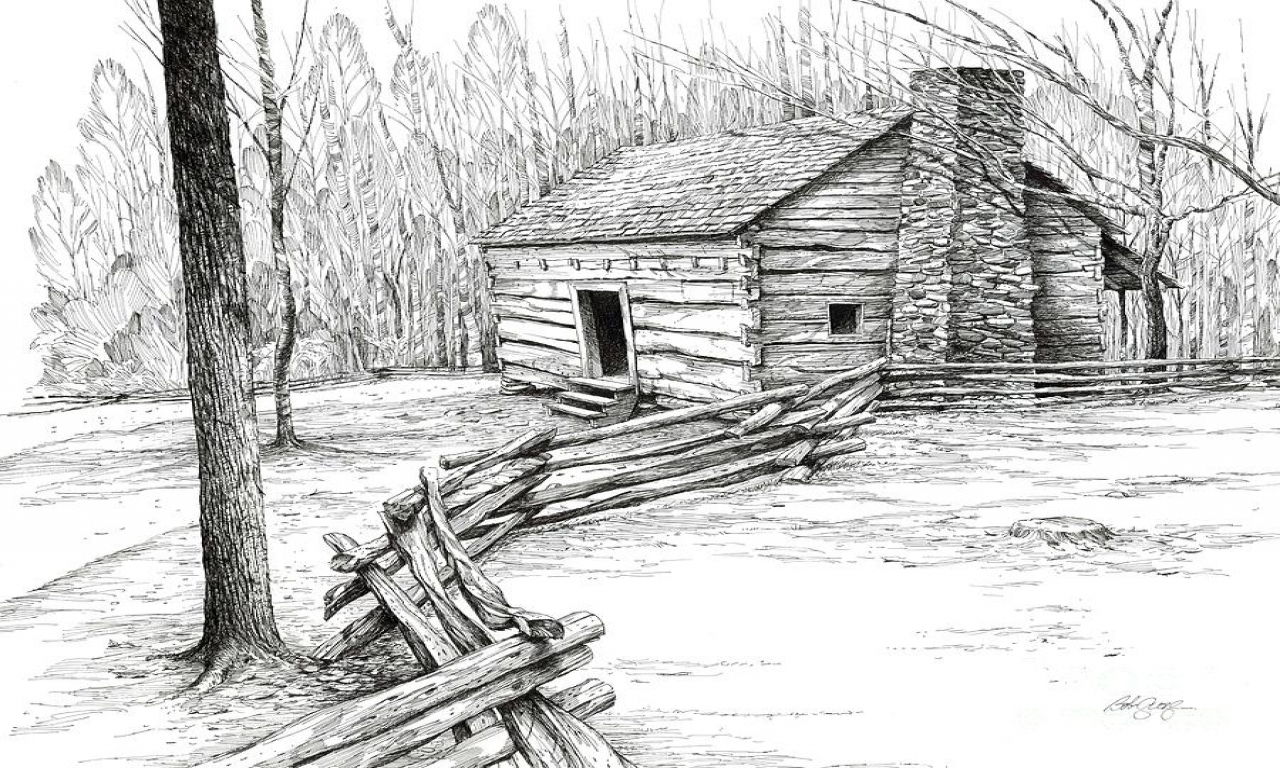 Mountain Log Cabin Drawing Cabin In The Woods Drawing