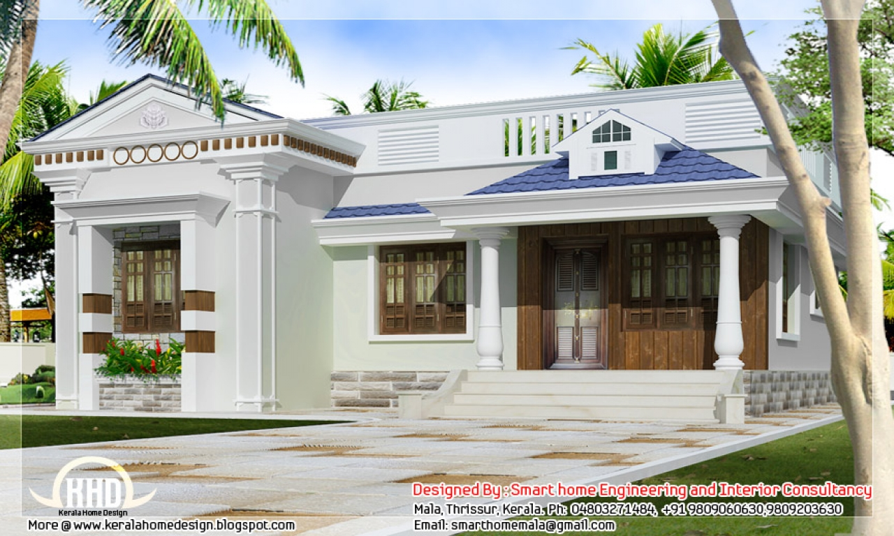 One story bungalow floor plans kerala style single storey for Kerala single floor house plans